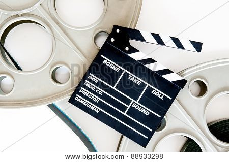 Two Movie Reels For 35 Mm Film Projector With Clapper Board And Filmstrip