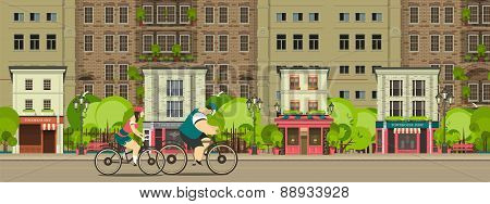 Biking Through The City Streets