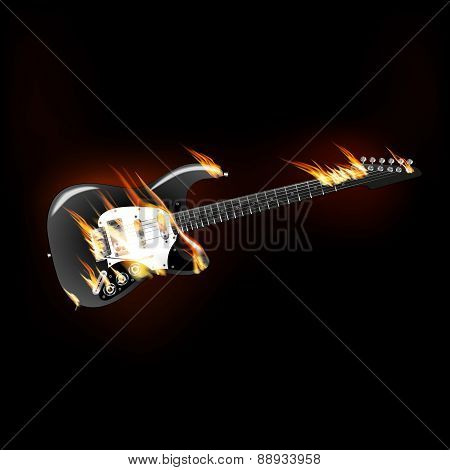 Rock Electric Guitar On Fire