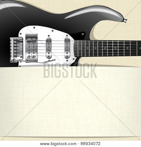 Rock Music Background With Guitar And A Horizontal Banner