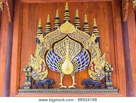 Wood Peacock Chair In Thai Temple,art Lanna Style