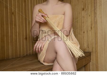 Beautiful Woman In Sauna, Bath Accessories
