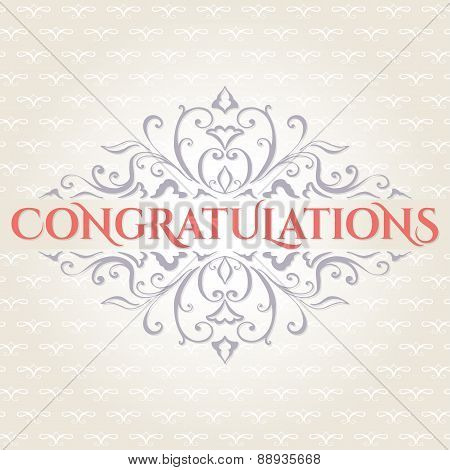 Vintage card with floral ornament design. Congratulations