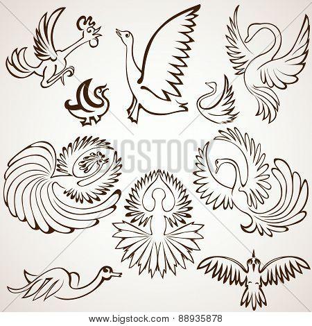 Set Bird Silhouette Collection