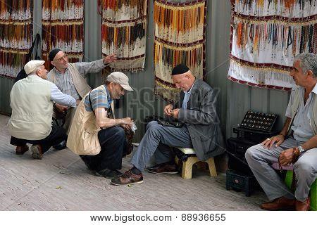 Street vendors selling on a street, Istanbul, Turkey.