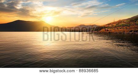 Calm sea and mountains