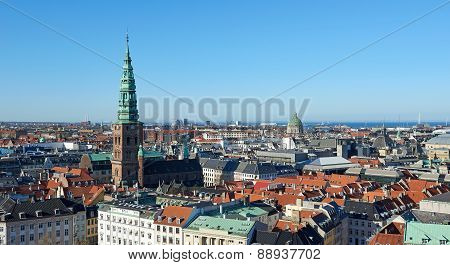 Copenhagen, Denmark Seen From Above On A Sunny Day