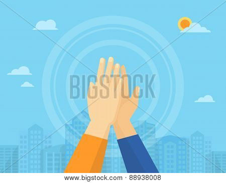 Two hands giving a high five