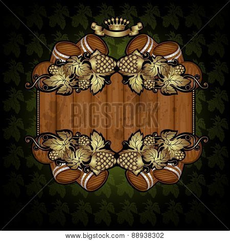 beer background with wood banner in centre and hop barrel ellement