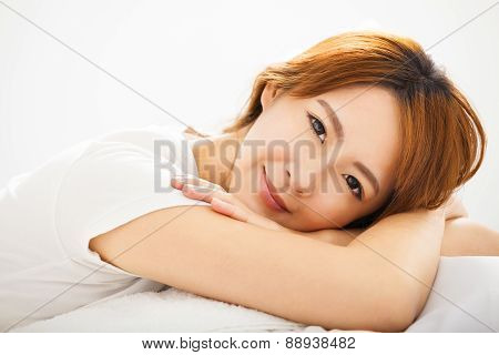 Attractive Young Beautiful Woman Waking Up In Bed