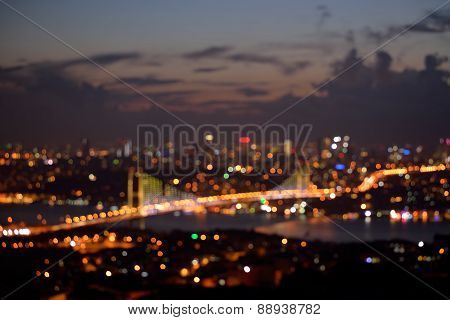 Blurred background of Istanbul at night.