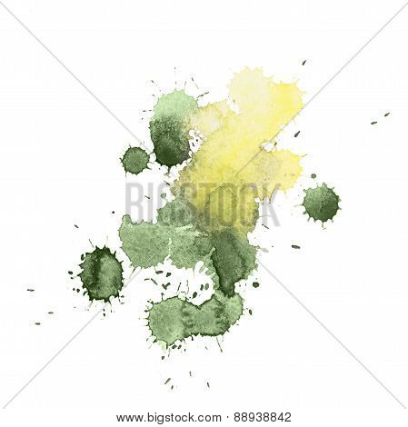 Abstract watercolor aquarelle hand drawn colorful green yellow art paint splatter stain on white bac