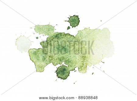 Abstract green watercolor aquarelle hand drawn colorful art paint splatter stain on white background