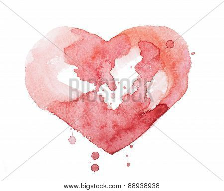 Watercolor aquarelle hand drawn colorful red heart art color paint or blood splatter stain