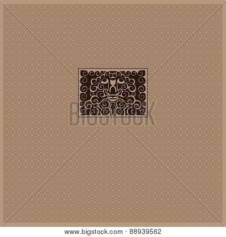 vintage background with mask or spirit face from pattern