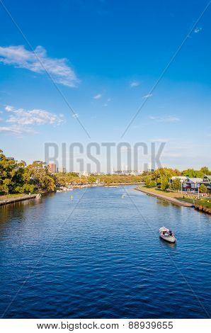View Over Yarra River In Melbourne, Australia