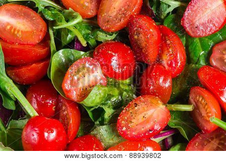 Fresh salad with tomatoes different flattery. olive oil, spices and ready to eat.