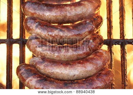 Bbq Bratwurst Sausages On The Hot Grill, Top View