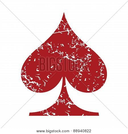 Red grunge spades card logo