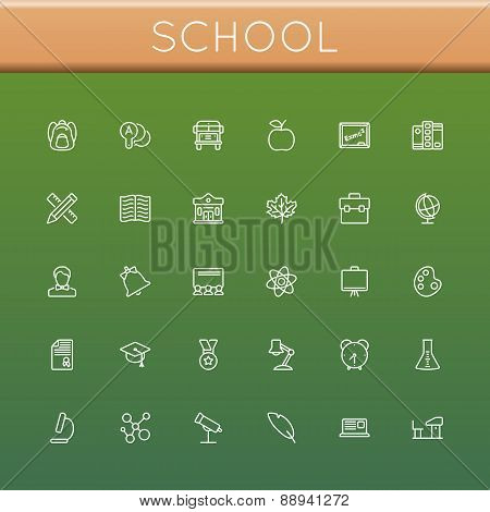 Vector School Line Icons