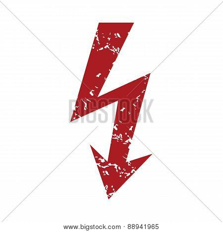 Red grunge lightning logo
