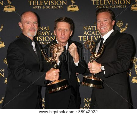 LOS ANGELES - FEB 24:  Mike Cassidy, Bradley Bell, Mickey Cassidy at the Daytime Emmy Creative Arts Awards 2015 at the Universal Hilton Hotel on April 24, 2015 in Los Angeles, CA