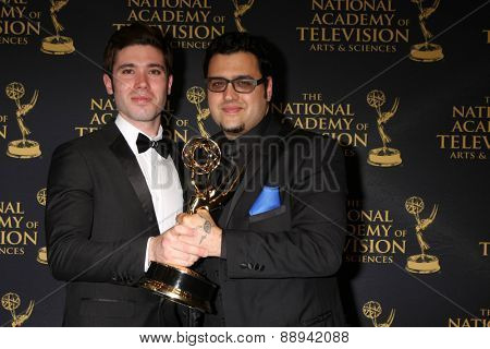 LOS ANGELES - FEB 24:  Kristos Andrews, Gregori J Martin at the Daytime Emmy Creative Arts Awards 2015 at the Universal Hilton Hotel on April 24, 2015 in Los Angeles, CA