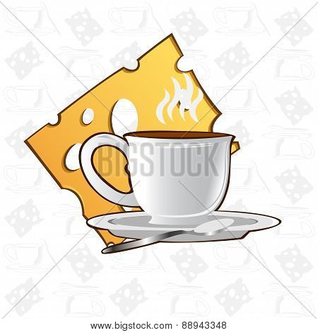 Tea or coffee Background with Cup and Cheese