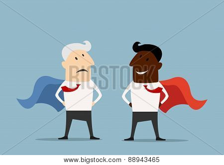 Superhero businessmen standing facing each other
