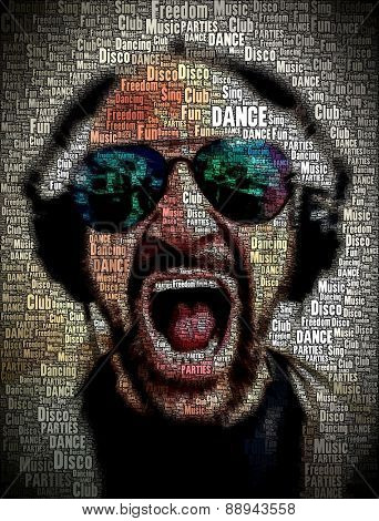 Original Man with HeadPhone illustration made with Words.