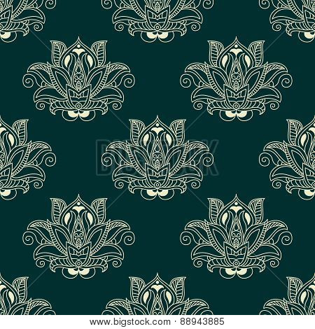 Seamless abstract paisley flower buds pattern