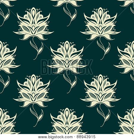 Seamless pattern paisley flowers on twining stems
