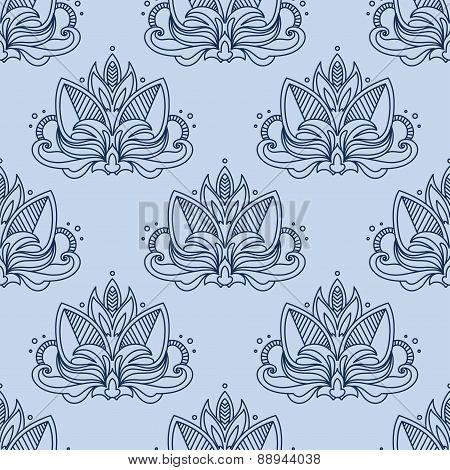 Stylized blue indian lotus seamless pattern