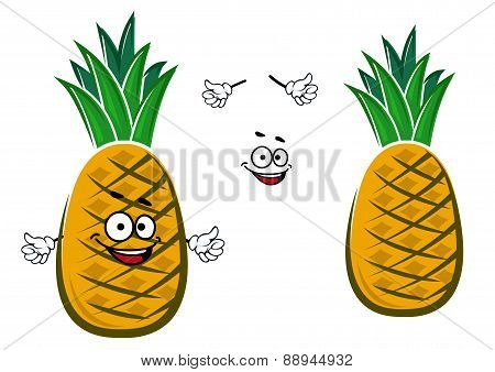 Ripe yellow pineapple fruit character