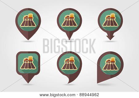 Tractor field flat mapping pin icon