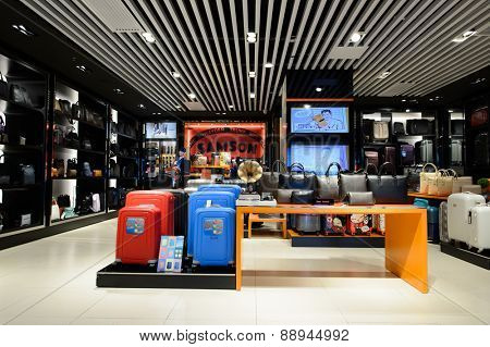 SHENZHEN, CHINA - FEBRUARY 16, 2015: airport bags store interior. Shenzhen Bao'an International Airport is located near Huangtian and Fuyong villages in Bao'an District, Shenzhen, Guangdong