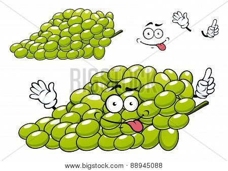 Cartoon green grape bunch character