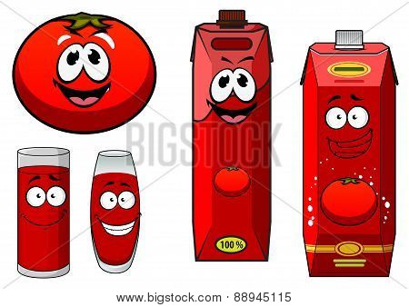 Happy natural tomato juice cartoon characters