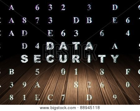 Protection concept: Data Security in grunge dark room