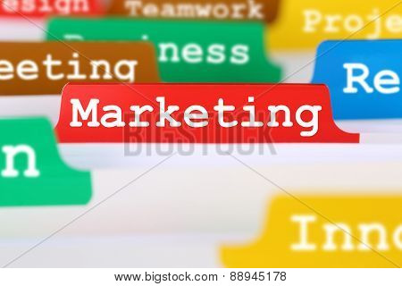 Marketing And Advertisement Office Text On Register In Business Documents
