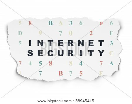 Safety concept: Internet Security on Torn Paper background