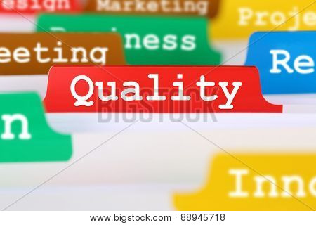 Quality Control And Management Register In Business Concept Service Documents
