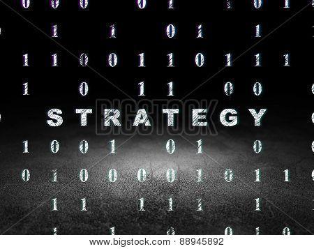 Finance concept: Strategy in grunge dark room