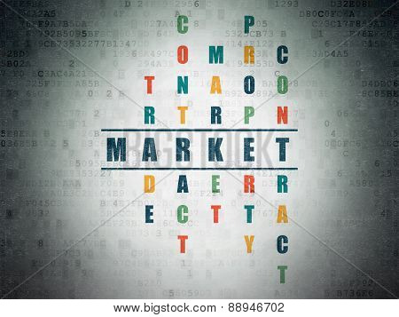 Business concept: word Market in solving Crossword Puzzle