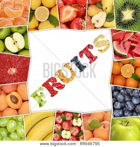 Frame From Fruit With Word Fruits Like Apple, Strawberry, Orange