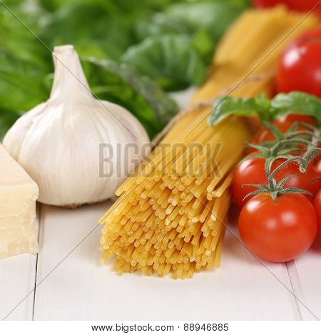 Italian Cuisine Ingredients For Spaghetti Pasta Noodles Meal With Tomatoes