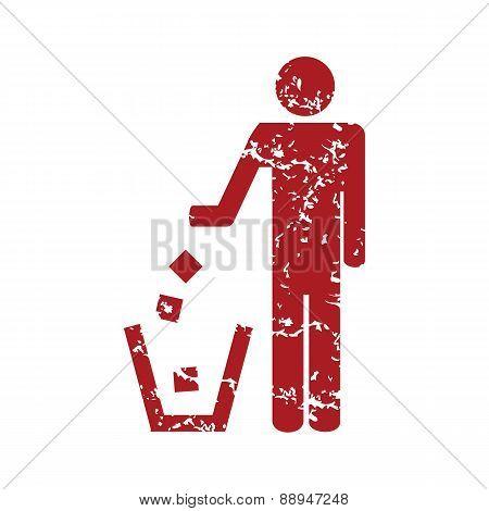 Red grunge throw garbage logo