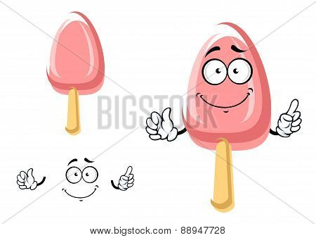 Cartoon icecream stick or ice lolly character