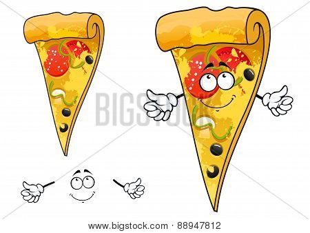 Cute cartoon thin slice of pizza character