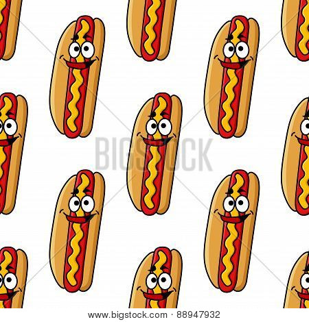 Funny hot dog characters seamless pattern